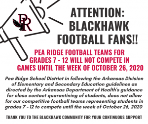 Pea Ridge football teams for grades 7 - 12 will not compete in games until the week of October 26, 2020